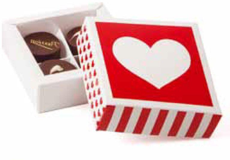 Caja Amor con separadores para 4 bombones